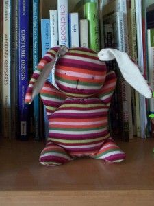 Super easy bunny made from a recycled T-shirt - great gift to make for toddlers or a new baby.