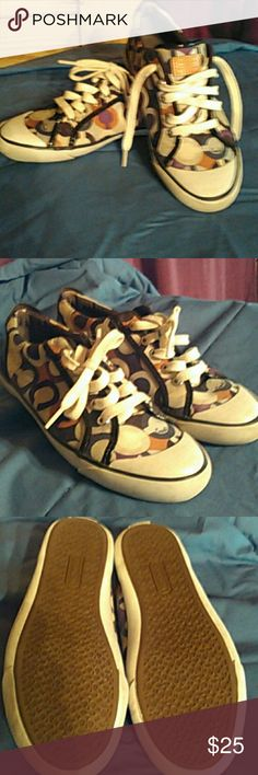 Sneakers-Reposh Coach multi-colored sneakers. EUC. No tears,rips or stains noted.  Very little wear on bottom. Size 8. Coach Shoes Sneakers