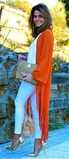 Spring Ready II White jeans, white top, orange fringe kimono and gold metallic pumps and clutch