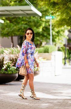 cute & little blog | petite fashion | pink blush tropical chiffon dress, bucket bag, gladiator sandals | summer outfit