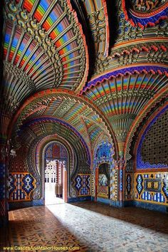 Sammezzano, aka the Castle of Sammezzano, Leccio, Reggello, Province of Florence, Tuscany, Italy...     www.castlesandmanorhouses.com   ...   Sammezzano is an Italian palazzo, notable for its Moorish Revival architectural style. The original palazzo was erected in about 1605 by the Spanish nobleman, Ximenes of Aragon. In the 19th century, Ferdinand Panciatichi Ximenes inherited the property. Between 1853 and 1889, he remodeled it into one of the largest examples of Moorish Revival…