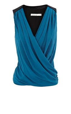 Karen Millen Soft Draped Top - Feminine Grecian style draped jersey top with cotton epaulette shoulder detailing.