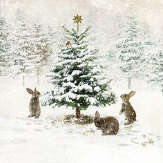Three Bunnies - christmas card design by Jane Crowther for Bug Art greeting cards. Could be a neat design to use from a rabbit rescue, etc. Christmas Scenes, Noel Christmas, Christmas Animals, Vintage Christmas Cards, Christmas Pictures, Winter Christmas, Christmas Crafts, Woodland Christmas, Christmas Bunny