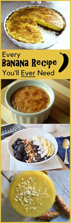 37 Healthy Banana Recipes from Carob Cherub Healthy Banana Recipes, Vegan Recipes, Snack Recipes, Dessert Recipes, Energy Drinks, Delicious Desserts, Yummy Food, Vegan Smoothies, Snacks