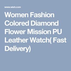 Women Fashion Colored Diamond Flower Mission PU Leather Watch( Fast Delivery)