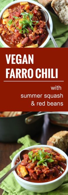 This hearty vegan chili gets some meaty bulk and texture from farro simmered in spicy tomato sauce with tender summer squash and red kidney beans.