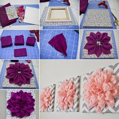 How to DIY Beautiful Felt Dahlia Flower Wall Art tutorial and instruction. Cute for baby girl room Diy Wall Art, Diy Wall Decor, Diy Art, 3d Flower Wall Decor, Diy Nursery Decor, Felt Flowers, Diy Flowers, Fabric Flowers, Flower Diy