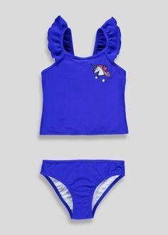 4-13yrs Girls Blue Polka Dot Frill Swimming Costume