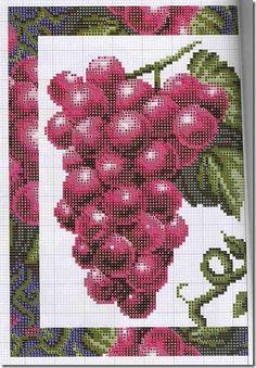 Gráficos de Ponto Cruz: Ponto cruz graficos quadros de uvas