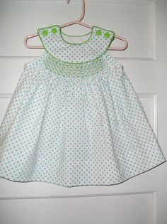 Sundress made with Infant Snowdrift by Judith Marquis smocked with one of her designs.
