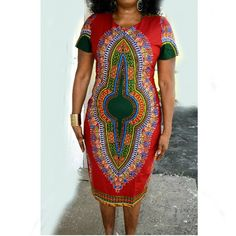 African Dashiki Print Midi Dress, African Midi Dress, Dashiki Midi Dress By Zabba Designs by ZabbaDesigns on Etsy