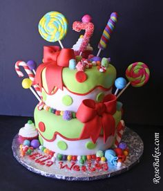 5 year old birthday girl party ideas | For the cake, Mom wanted lots of candy… swirly lollipops…