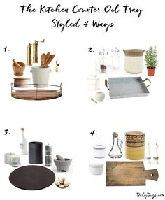 How to Master the Kitchen Counter Oil Tray - Daly Digs - - There is one thing every kitchen needs and that is a kitchen counter oil tray to corral oil, utensils, butter and other items used frequently while cooking. Kitchen Countertop Decor, Kitchen Tray, Farmhouse Kitchen Decor, Home Decor Kitchen, Kitchen Ideas, Kitchen Counter Decorations, Kitchen Counter Storage, Kitchen Staging, Kitchen Vignettes