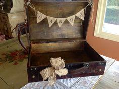 Rustic Wedding Card Box/Burlap Banner Rustic Chic by ladedadesign, $54.99