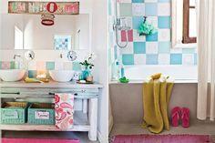 Seis propuestas para sumarle color al baño Rústico pero actual a la vez, en este espacio se eligieron elementos lúdicos en tonos pastel, como el cartel encima del espejo y los azulejos antiguos, y se combinaron con artefactos y materiales modernos, como las bachas y el cemento alisado. / Archivo LIVING