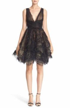 Marchesa Embroidered Tulle Fit & Flare Dress