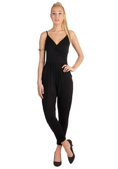 Slicker Than Your Average Jumpsuit. Sometimes your sassy ways hypnotize everyone you meet - especially, when youre rocking this playful black jumpsuit! #black #modcloth