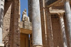 Roman Theater c. 15 BC, Merida, Spain Roman Theatre, Roman Empire, Merida, Beautiful Things, Theater, Landscape, Ancient Art, Romans, Museums