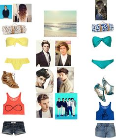 """""""Audreys & Scarlets outfit for the beach with one direction"""" by breannaashford on Polyvore"""
