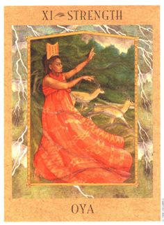 Oya is the Yoruban goddess of the wind, thunderstorms, turbulent weather in general, as well as Death and a few other things – she is a Warrior goddess, a Fire goddess and she shakes things up that need shaking up, and knocking arrogant misuse of power flat on its posterior.
