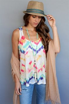A bright + easy tank by Karlie. We love the mix of colors. Only $48! #spring #tank