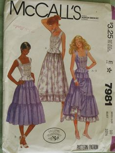 Vintage Laura Ashley Sewing Pattern Misses Chemise Style Top and Layered Tiered Skirts McCall's Fashion Size 10 Uncut New Mccalls Sewing Patterns, Vintage Sewing Patterns, Clothing Patterns, Dress Patterns, Paper Patterns, Laura Ashley Patterns, Laura Ashley Fashion, Corset Style Tops, Prairie Skirt