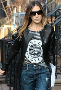 Lauren Moshi Margo Foil Yacht Club Striped Pullover in Blue and White as Seen On Sarah Jessica Parker