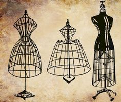 antique wire dress forms mannequins png file sewing steampunk clip art stamp Digital graphics Image Download. $1.00, via Etsy.