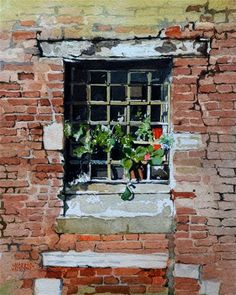 """Sunlit window in Venice"" - Original Fine Art for Sale - © David Morris"