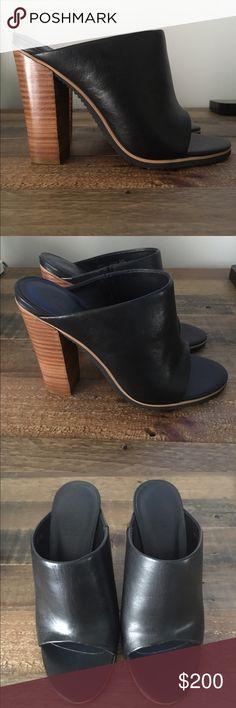 "tibi high heel mules black leather Tibi peep-toe mules with stacked block heels. 4.5"" heel Tibi Shoes Mules & Clogs"