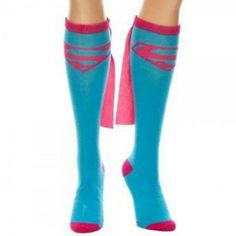 """Knee High Superman Superwoman Flying Cape Socks ALL ITEMS ARE FOR SALE  Price 1 pair - $15 or better offer """"For a Limited Time Only""""  """"SHIPPING NOT INCLUDED""""  (If you would like to purchase more than 1, message me and I can create a seperate Poshmark Ad for you to pay)  Brand new, never been worn  (For Women(girls))  FOLLOW ME & CHECK MY PIX EBAY Seller Acct - escrubulua Facebook - imau1987@gmail.com lnstagram - mistah_got_it_all Twitter - @eye_got_it_all  """"PAYPAL friendly"""" as well DC COMICS…"""