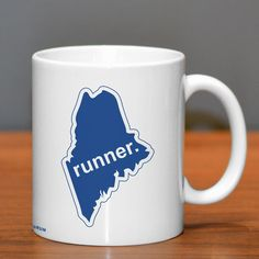 Maine State Runner Ceramic Mug | Running Coffee Mugs | Coffee Mugs for Runners