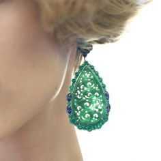 Carved jadeite, emerald and sapphire earrings, by Chopard. @chopard #highjewelry #jewelry #jadeite #earrings