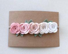Large Vintage Pink Ombre Rose Garland Headband - Newborn Baby to Adult - Wool Felt Flower Headband-Nylon Headband