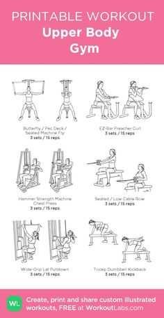 Desire for workout plans? Kindly see these fitness workout pin image reference 5633795489 immediately. Upper Body Workout Gym, Workout Plan Gym, Planet Fitness Workout Plan, Gym Workout Plan For Women, Gym Workouts Women, Body Fitness, Fitness Workouts, Workout Ideas, Gym Body