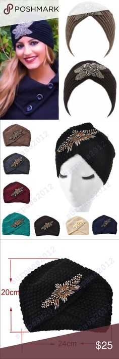 Jewerled turbant beanie New, in black color Accessories Hats