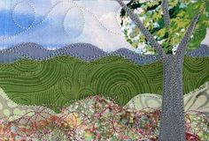 Mountain Landscape Quilted Fabric Postcard Blooming by SewUpscale, $11.00