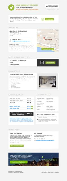 Hotel booking confirmation page on Behance