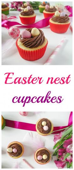 Quick vanilla Easter cupcakes with nutella nest and chocolate eggs