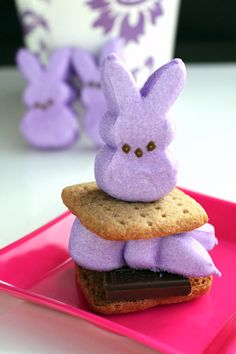Must try this next spring! :) Peeps S'mores. #peeps #marshmallows #chocolate #smores #food