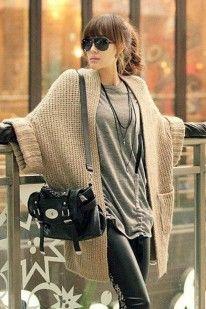 Gilet - veste - Cardigan oversize , laine - coton, taille unique du 34 au 38 - vetements femme Vestes / Manteaux / Parkas