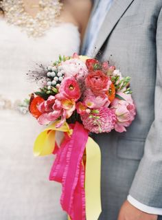 Love the fuchsia and yellow ribbons