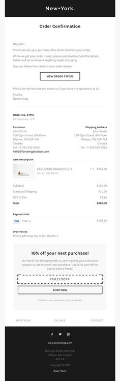JCrew Factory Shipping Confirmation Simple, clean design which - confirmation email template