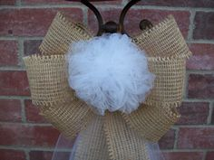 Burlap and Tulle Pew Bows, Tulle Pew Bow, Custom Color Pew Bows, Rustic Wedding Decor, Country Wedding Bows on Etsy, $13.00