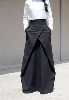 Flowy Maxi Skirt with Pocket, Evening Bridesmaid Skirt, High Waisted Skirt, High Fashion Skirt, Floor Length Skirt Cotton Skirt Large Skirt - Outfits Work Guide Look Fashion, Urban Fashion, Fashion Outfits, High Fashion, Fashion Clothes, Fashion Pants, Fashion Black, Fashion Fashion, Trendy Fashion