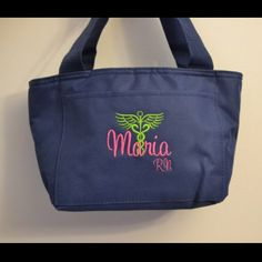 Great personalized gift for your favorite nurse!  Nurse Lunch Tote with Caduceus Nursing RN LPN CNA Tote Bag Gift Sister Personalized Custom Monogram Student College LVN NP BSN professor teacher MA stylish trendy name  Handfulsofpurpose4u.etsy.com