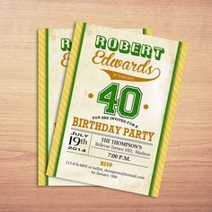 Retro Adult Birthday Party Invitation / by TheStarDustFactory, $10.00