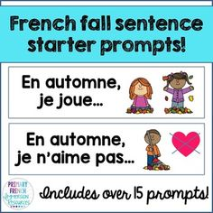 French fall sentence starter prompts