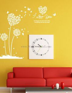 I Love You Heart Sharped Flower and Butterfly Wall Decals – WallDecalMall.com