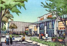 Retail shopping center.  Charrette drawing by Bruce Bondy, Bondy Studio.